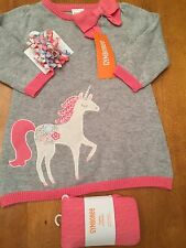 Baby Girl 6-12 M Unicorn Sweater Dress Tights & Hair Clips Gymboree NWT
