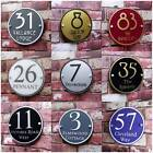 Personalised House Sign Door Number Street Address Plaque Modern Glass Round