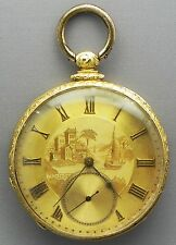 18 KARAT, 16 Size SOLID Yellow GOLD Pocket Watch 15 Jewels & Engraved GOLD Dial!