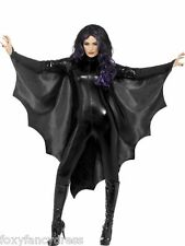 Señoras Halloween Negro Vampire Bat alas Capa Con Cuello Alto Fancy Dress