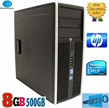 Torre de elite de computadoras HP i5 8200.3.10 GHZ.2400 CPU.500GB. 8GB.WIN10 Pro. DVD + RW