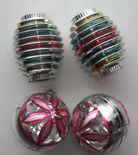 4 VINTAGE CHRISTMAS TREE PLASTIC ORNAMENTS ~ CHINESE LANTERNS ~ FLOWER CUT-OUTS