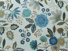 Harlequin Curtain Fabric CASPIA 2.65m Amber/Indigo Floral Design 265cm
