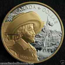 1608 2008 Canada 925 Pure Silver Bullion Proof Dollar Coin (GOLD Plated) QUEBEC