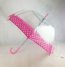 New Clear POE Pretty Pink Spot Dome Auto Open Umbrella With Pink Hook Handle