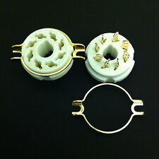 8 Pin Octal Chas. Mount Split Hole Gold plated Ceramic SKT. For KT88, 6550, etc.
