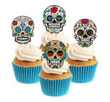 Novelty Sugar Skull Image Mix (1) 12 Edible Stand Up wafer paper cake toppers