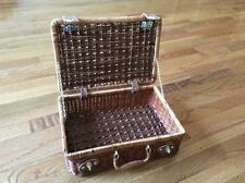 Solid wood brass leather mini trunk suitcase travel luggage bag lattice decor