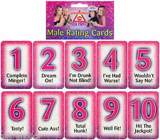 HEN PARTY MALE RATING CARDS NOVELTY GAME - £2.95 SHIPPING across hen party range
