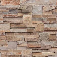 Muriva Brown Slate Brick Wallpaper - Stone Neutral Textured - Designer