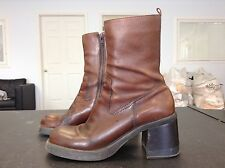 American Eagle Brown Leather Retro Style Boots Womens Size 9 M