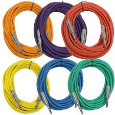 "SEISMIC AUDIO New 6 PACK Colored 1/4"" TS 25' Patch Cables - Guitar - Instrument"