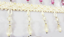 1m Curtain Sewing Tassel Fringe Trim Tassel Crystal bead Lace Accessory beige