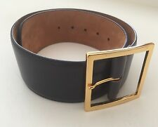 Women's W. Kleinberg Gray/charcoal Wide Leather Belt Size XSmall