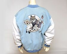 Men's Vtg TEXX Canada Denim Jacket Wolf Large Print on Back White Sleeves L