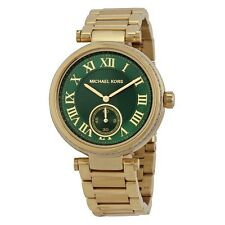NUOVA MICHAEL KORS SKYLAR Quadrante verde smeraldo Gold-Tone Ladies Watch mk6065