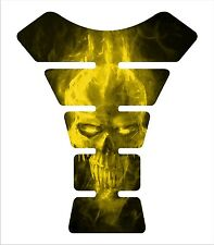 Ice Skull Yellow Motorcycle 3d Gel Gas tank pad tankpad protector Decal