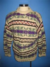 Handknit Chunky Thick  Ethnic Nordic Wool Ski Sweater L XL