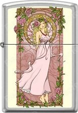 Zippo Nouveau Woman Pink Floral Alphonse Mucha Style Satin Chrome Lighter