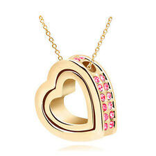 New Pink Rhinestones Gold Plated Love Double Heart Charm Pendant Necklace