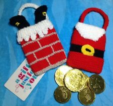 KNITTING PATTERN - Santa in chimney and coat gift bag Christmas tree decorations