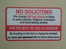 No Soliciting Funny Front Door Sign Sticker. NEW 5×3inch. Stocking stuffer.