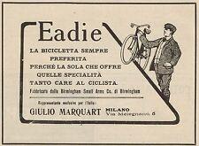 Z1329 Biciclette EADIE - Giulio Marquart - Milano - Pubblicità d'epoca - 1909 Ad