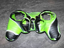 PS3 SILICONE CASE POUR MANETTE CONTROLLER PS3 FLAMME NOIR/VERT NEUF