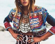 Metal Chain Gypsy Coin Crop / Bikini Vintage Boho Iridescent Burning Man