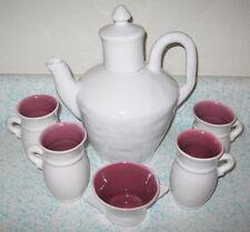 Rare Winfield Pottery Coffee Chocolate Pot 4 Mugs Sugar Bowl 1930's Pasadena CA