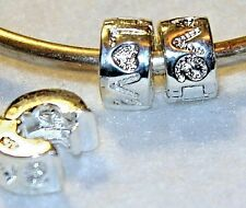 2x LOVE HEART STOP LOCK CLIP STERLING SILVER BEADS LOT U49 FIT MURANO CHARM