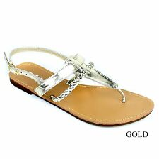 New Womens T Strap Thong Gladiator Braided Strap Flat Flip Flops Slipper Sandals