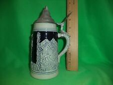VINTAGE JAGER UND DIRNDL BEER STEIN. WEST GERMANY BLUE & WHITE STONEWARE