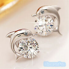 Crystal Eye Dolphin Stud Earrings Women's 925 Sterling Silver Plated Jewelry