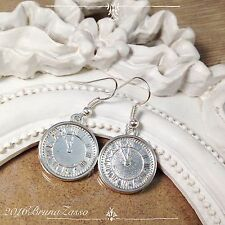 Orecchini Orologio Earrings Argento Cute Time Alice Vintage Hipster Regalo Punk