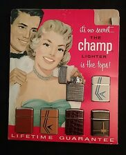 Vintage Champ Lighter Store Display with 6 Lighters NEVER USED!