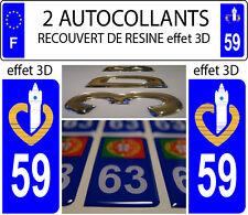 2 stickers plaque immatriculation auto TUNING DOMING RESINE REGION DU NORD 59