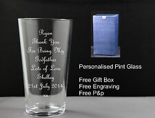 Personalised Pint Glass, Godfather Godmother Gift
