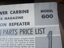 Remington 600 HIGH POWER CARBINE Factory Owners Instructions ORIGINAL