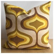 Original Vintage Yellow Psychedelic  Fabric Cushion Cover 60s 70s