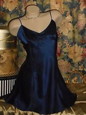USA L Victoria's Secret Navy Blue Silk Nightgown & Earrings pierced French Wire