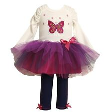 Bonnie Jean Farfalla Ricamato Viola Tutu Vestito Legging Set Girls 6y