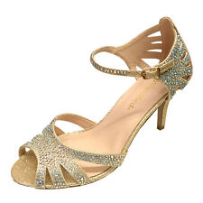 Women Rhinestones Evening Party Platform High Heels Wedding Silver Gold Shoes