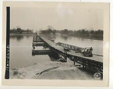 Army Signal Corps Pontoon Bridge, Irrawaddy River Burma Myanmar 1940s Photograph