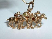 VINTAGE 14K YELLOW GOLD 3D HORSE RACE PENDANT CHARM
