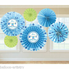 6 Blue Boy's New Baby Shower With Love Party Hanging Paper Fan Decorations