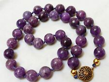 Vintage Purple Jade? Jasper? Stone Beads Necklace, Sterling Clasp