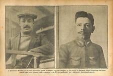 Anselme Marchal & Adjudant Maxime Lenoir Pilote de SPAD WWI 1916 ILLUSTRATION