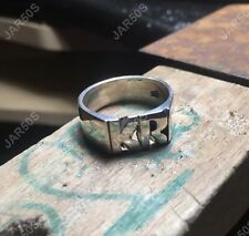 large Hand Carved Solid Sterling Silver 925 Ring With Initials Made To Order