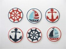 PRE CUT 12 EDIBLE RICE PAPER WAFER CARD NAUTICAL BOAT SAILING CUPCAKE TOPPERS